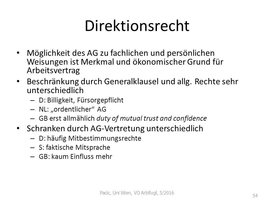 Direktionsrecht Möglichkeit des AG zu fachlichen und persönlichen Weisungen ist Merkmal und ökonomischer Grund für Arbeitsvertrag Beschränkung durch G