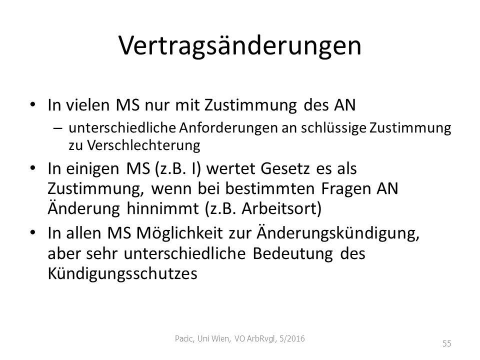 Vertragsänderungen In vielen MS nur mit Zustimmung des AN – unterschiedliche Anforderungen an schlüssige Zustimmung zu Verschlechterung In einigen MS