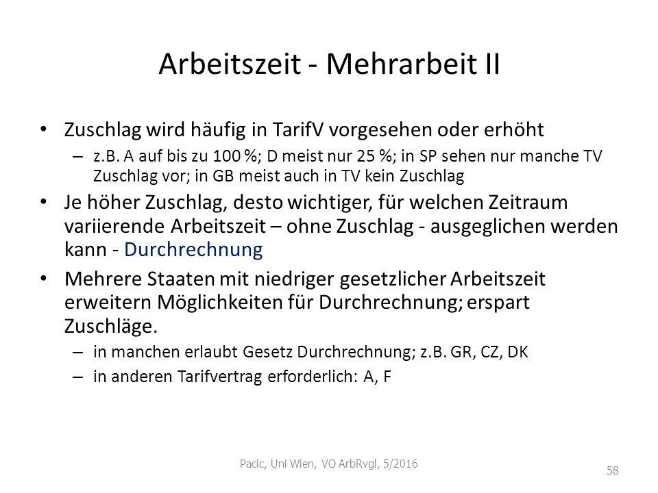 Arbeitszeit - Mehrarbeit II Zuschlag wird häufig in TarifV vorgesehen oder erhöht – z.B. A auf bis zu 100 %; D meist nur 25 %; in SP sehen nur manche