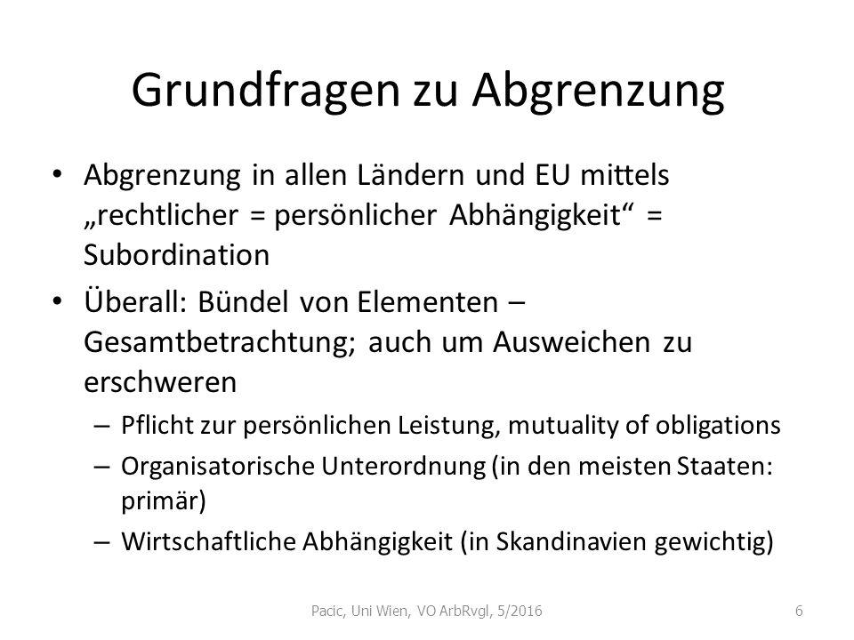 """Grundfragen zu Abgrenzung Abgrenzung in allen Ländern und EU mittels """"rechtlicher = persönlicher Abhängigkeit"""" = Subordination Überall: Bündel von Ele"""