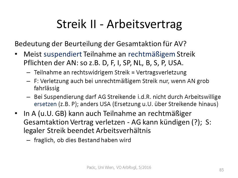 Streik II - Arbeitsvertrag Bedeutung der Beurteilung der Gesamtaktion für AV? Meist suspendiert Teilnahme an rechtmäßigem Streik Pflichten der AN: so