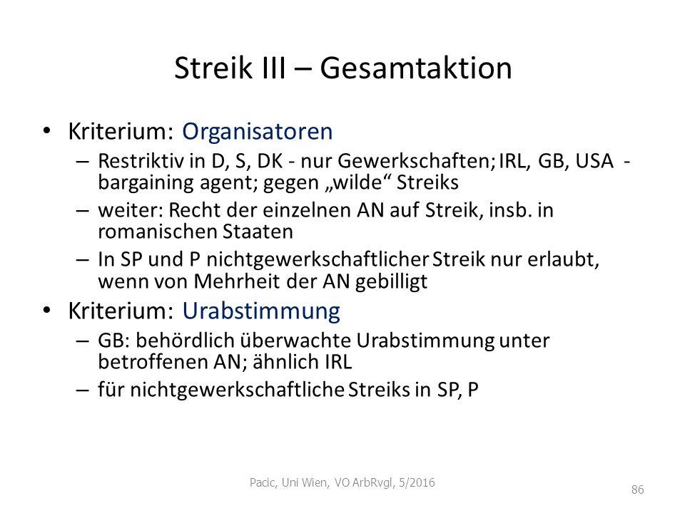 """Streik III – Gesamtaktion Kriterium: Organisatoren – Restriktiv in D, S, DK - nur Gewerkschaften; IRL, GB, USA - bargaining agent; gegen """"wilde"""" Strei"""