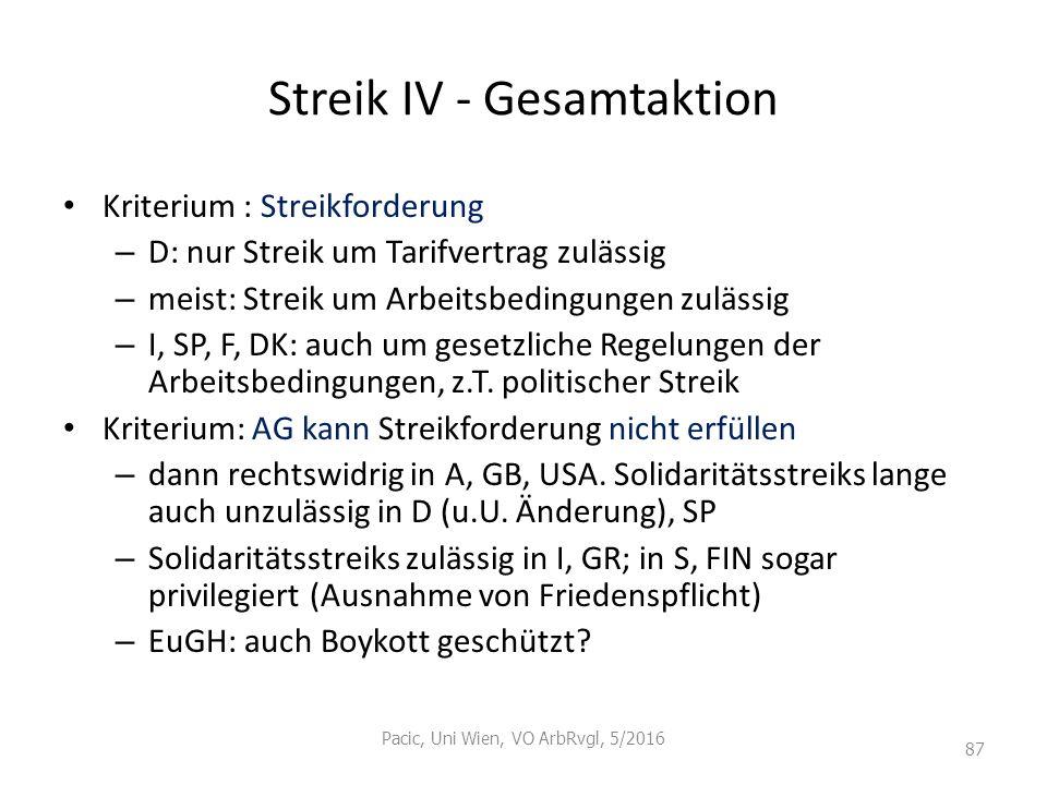 Streik IV - Gesamtaktion Kriterium : Streikforderung – D: nur Streik um Tarifvertrag zulässig – meist: Streik um Arbeitsbedingungen zulässig – I, SP,