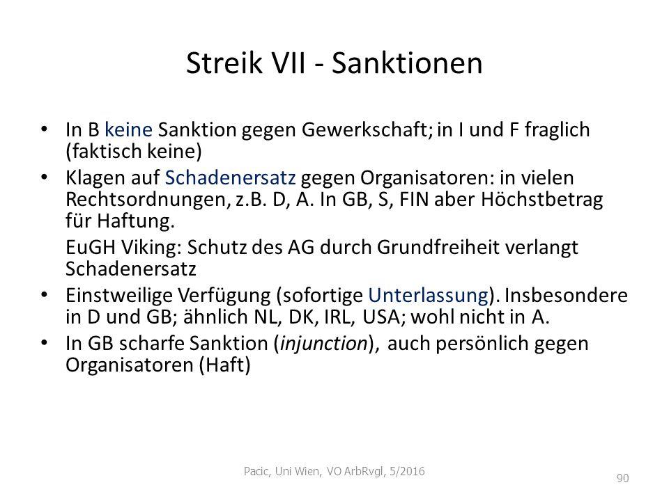 Streik VII - Sanktionen In B keine Sanktion gegen Gewerkschaft; in I und F fraglich (faktisch keine) Klagen auf Schadenersatz gegen Organisatoren: in
