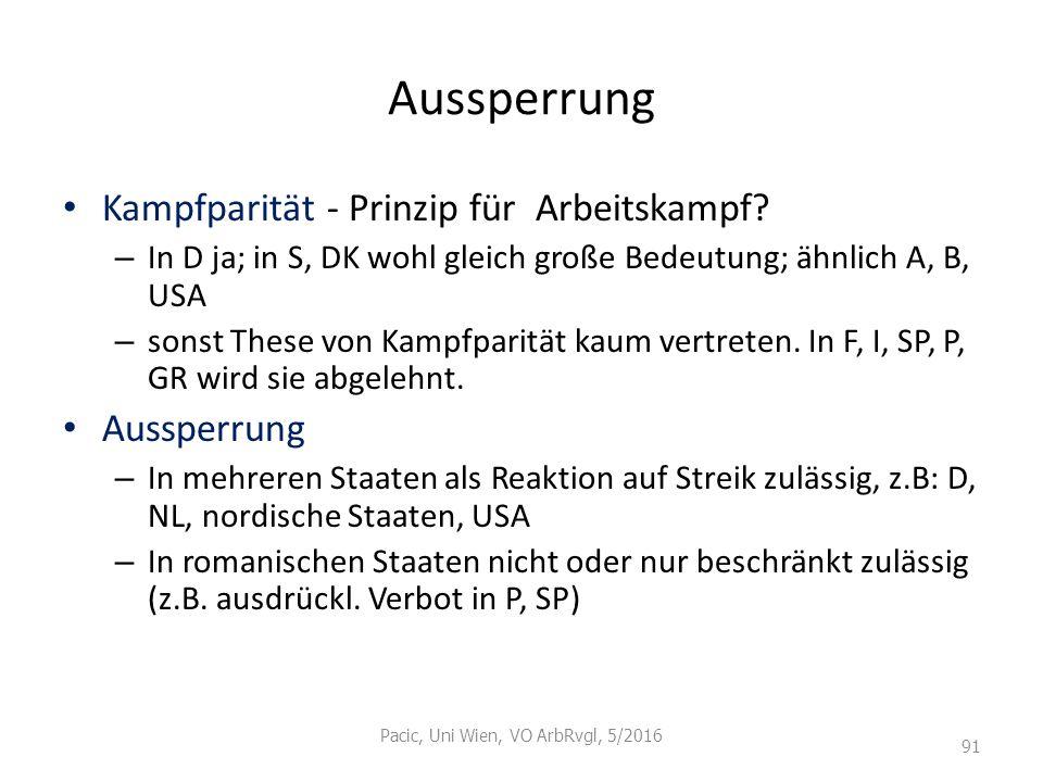 Aussperrung Kampfparität - Prinzip für Arbeitskampf? – In D ja; in S, DK wohl gleich große Bedeutung; ähnlich A, B, USA – sonst These von Kampfparität