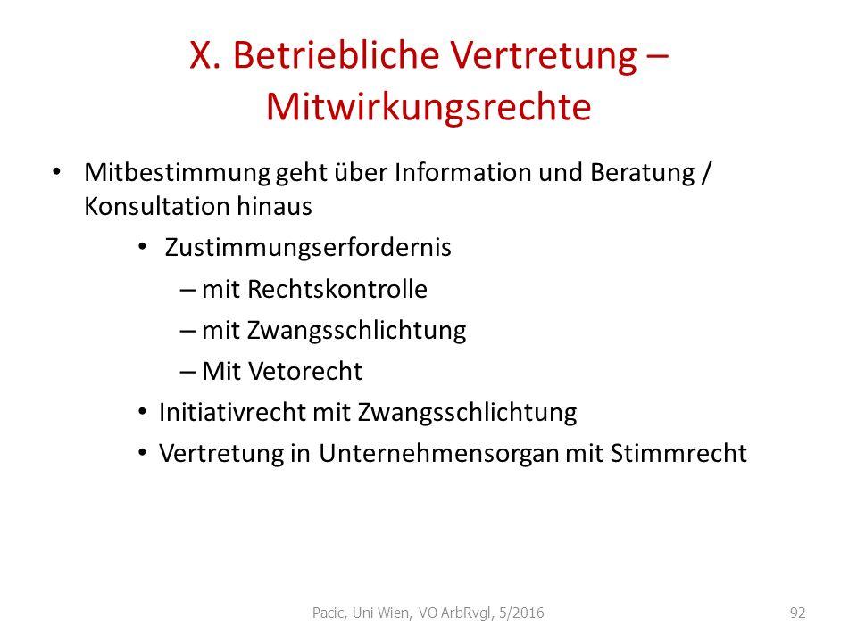 X. Betriebliche Vertretung – Mitwirkungsrechte Mitbestimmung geht über Information und Beratung / Konsultation hinaus Zustimmungserfordernis – mit Rec