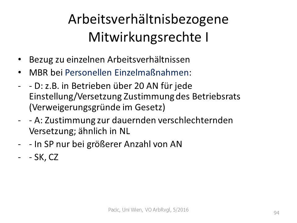 Arbeitsverhältnisbezogene Mitwirkungsrechte I Bezug zu einzelnen Arbeitsverhältnissen MBR bei Personellen Einzelmaßnahmen: -- D: z.B. in Betrieben übe
