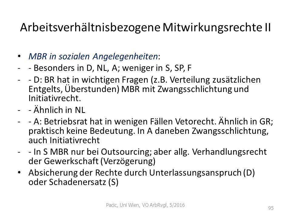 Arbeitsverhältnisbezogene Mitwirkungsrechte II MBR in sozialen Angelegenheiten: -- Besonders in D, NL, A; weniger in S, SP, F -- D: BR hat in wichtige