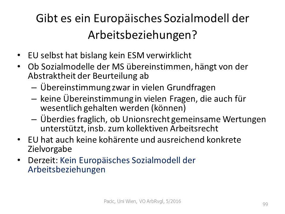 Gibt es ein Europäisches Sozialmodell der Arbeitsbeziehungen? EU selbst hat bislang kein ESM verwirklicht Ob Sozialmodelle der MS übereinstimmen, häng