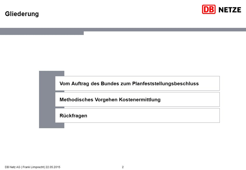 2 Gliederung DB Netz AG | Frank Limprecht | 22.05.2015 Vom Auftrag des Bundes zum Planfeststellungsbeschluss Methodisches Vorgehen Kostenermittlung Rü
