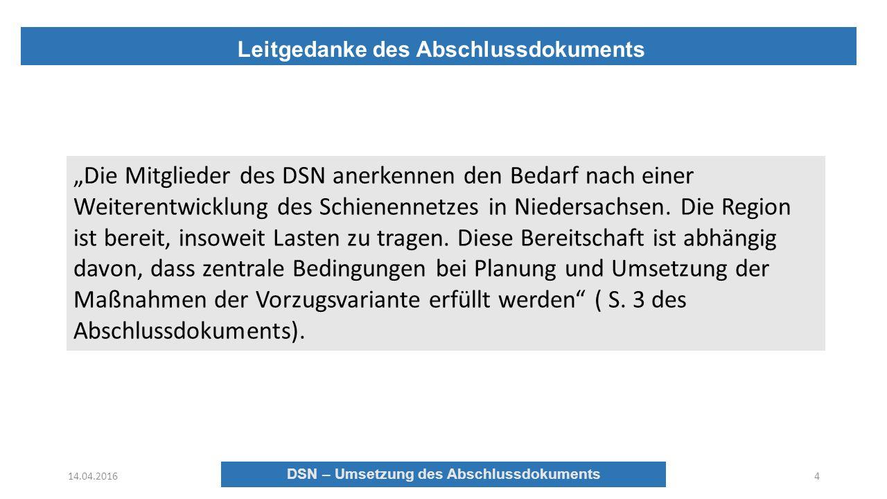 """Leitgedanke des Abschlussdokuments 14.04.2016 DSN – Umsetzung des Abschlussdokuments 4 """"Die Mitglieder des DSN anerkennen den Bedarf nach einer Weiterentwicklung des Schienennetzes in Niedersachsen."""