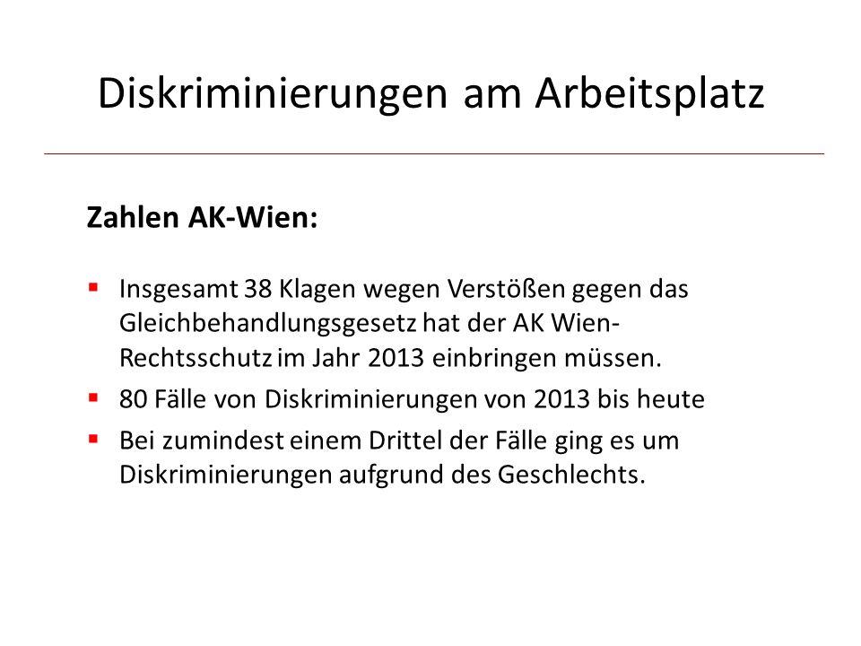 Diskriminierungen am Arbeitsplatz Zahlen AK-Wien:  Insgesamt 38 Klagen wegen Verstößen gegen das Gleichbehandlungsgesetz hat der AK Wien- Rechtsschutz im Jahr 2013 einbringen müssen.