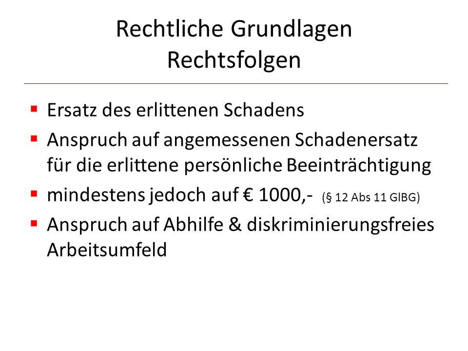 Rechtliche Grundlagen Rechtsfolgen  Ersatz des erlittenen Schadens  Anspruch auf angemessenen Schadenersatz für die erlittene persönliche Beeinträchtigung  mindestens jedoch auf € 1000,- (§ 12 Abs 11 GlBG)  Anspruch auf Abhilfe & diskriminierungsfreies Arbeitsumfeld