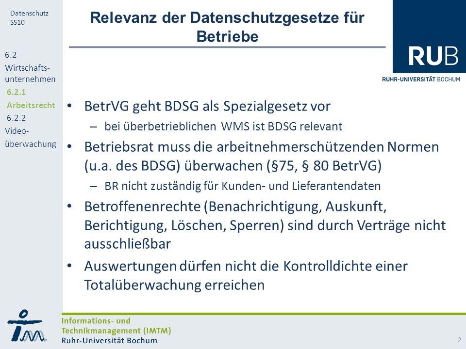 RUB Datenschutz SS10 Relevanz der Datenschutzgesetze für Betriebe BetrVG geht BDSG als Spezialgesetz vor – bei überbetrieblichen WMS ist BDSG relevant Betriebsrat muss die arbeitnehmerschützenden Normen (u.a.