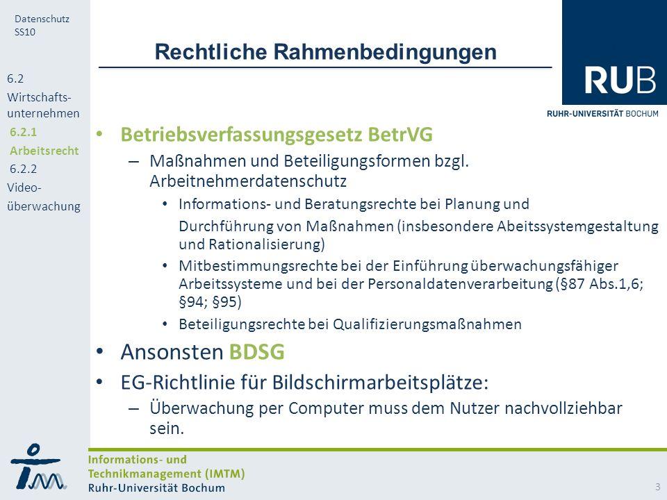 RUB Datenschutz SS10 Rechtliche Rahmenbedingungen Betriebsverfassungsgesetz BetrVG – Maßnahmen und Beteiligungsformen bzgl.