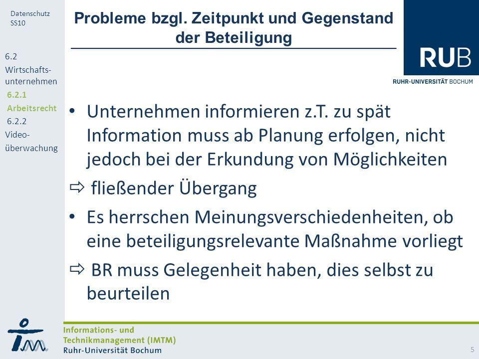 RUB Datenschutz SS10 Probleme bzgl.