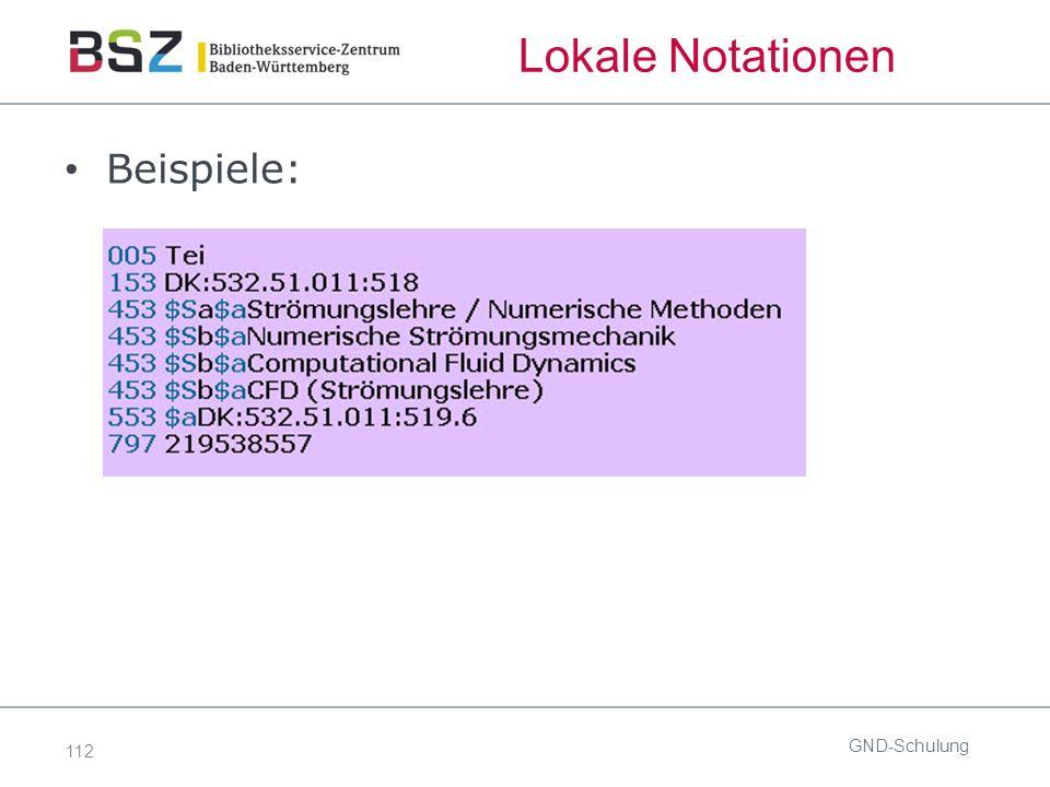 112 Lokale Notationen Beispiele: GND-Schulung