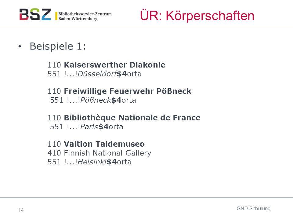 14 ÜR: Körperschaften Beispiele 1: 110 Kaiserswerther Diakonie 551 !...!Düsseldorf$4orta 110 Freiwillige Feuerwehr Pößneck 551 !...!Pößneck$4orta 110