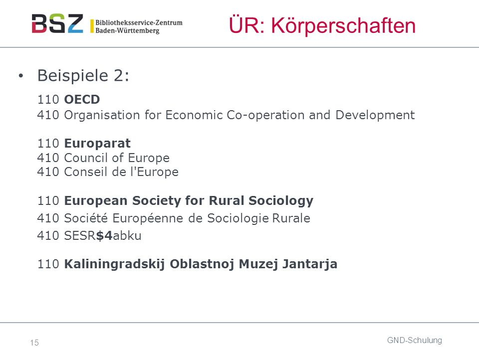 15 ÜR: Körperschaften Beispiele 2: 110 OECD 410 Organisation for Economic Co-operation and Development 110 Europarat 410 Council of Europe 410 Conseil de l Europe 110 European Society for Rural Sociology 410 Société Européenne de Sociologie Rurale 410 SESR$4abku 110 Kaliningradskij Oblastnoj Muzej Jantarja GND-Schulung