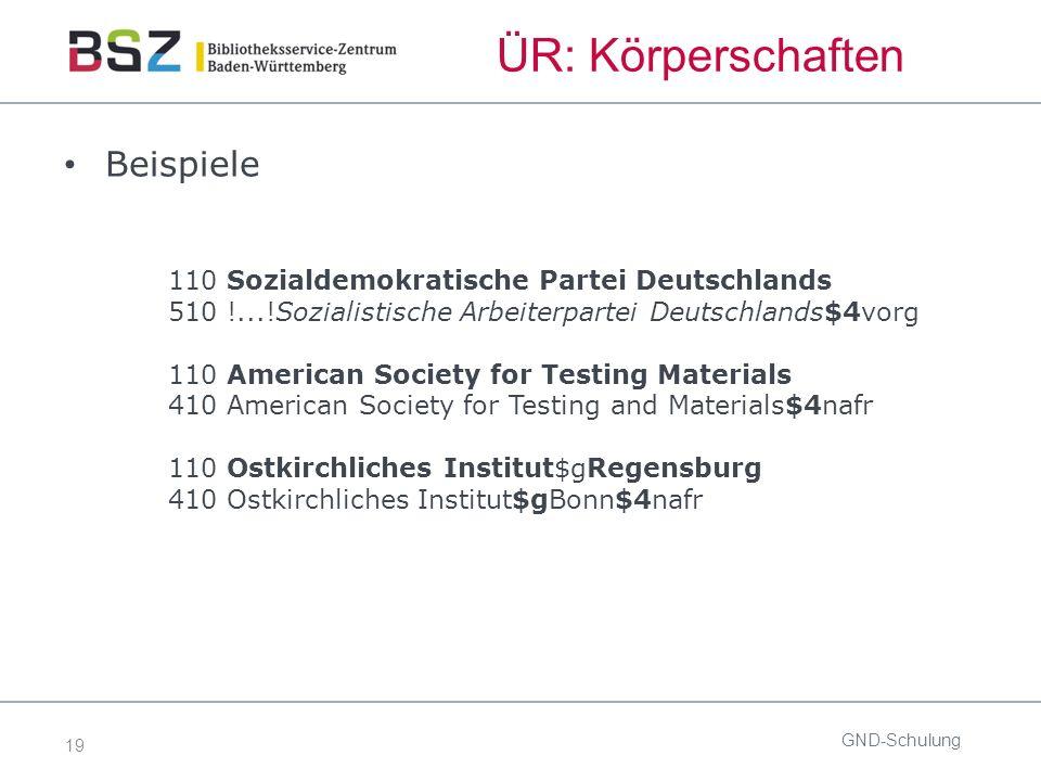 19 ÜR: Körperschaften Beispiele 110 Sozialdemokratische Partei Deutschlands 510 !...!Sozialistische Arbeiterpartei Deutschlands$4vorg 110 American Soc