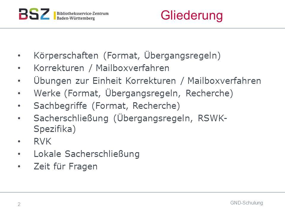 2 Gliederung Körperschaften (Format, Übergangsregeln) Korrekturen / Mailboxverfahren Übungen zur Einheit Korrekturen / Mailboxverfahren Werke (Format,