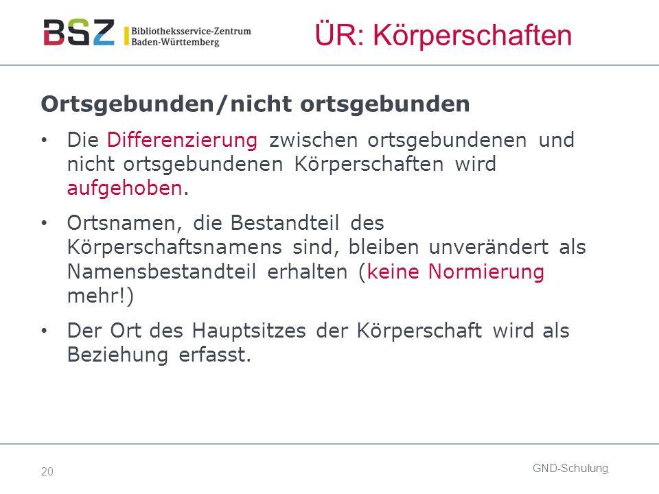 20 ÜR: Körperschaften GND-Schulung Ortsgebunden/nicht ortsgebunden Die Differenzierung zwischen ortsgebundenen und nicht ortsgebundenen Körperschaften wird aufgehoben.