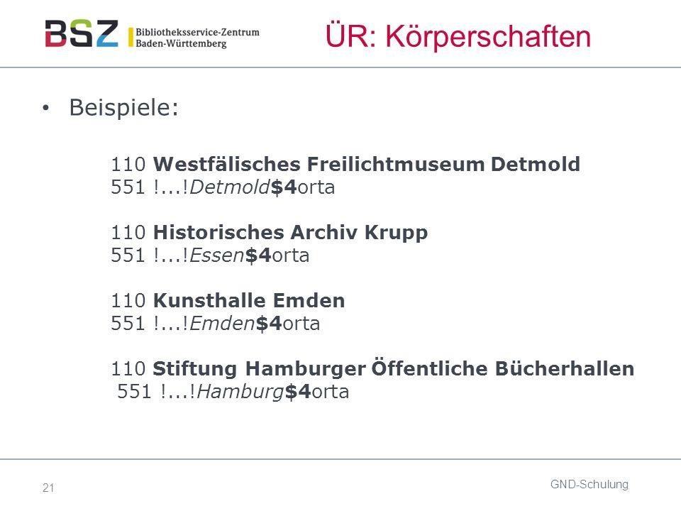 21 ÜR: Körperschaften Beispiele: 110 Westfälisches Freilichtmuseum Detmold 551 !...!Detmold$4orta 110 Historisches Archiv Krupp 551 !...!Essen$4orta 1