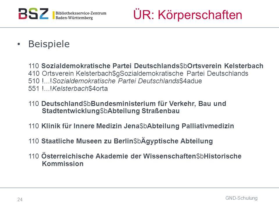 24 ÜR: Körperschaften Beispiele 110 Sozialdemokratische Partei Deutschlands$bOrtsverein Kelsterbach 410 Ortsverein Kelsterbach$gSozialdemokratische Pa