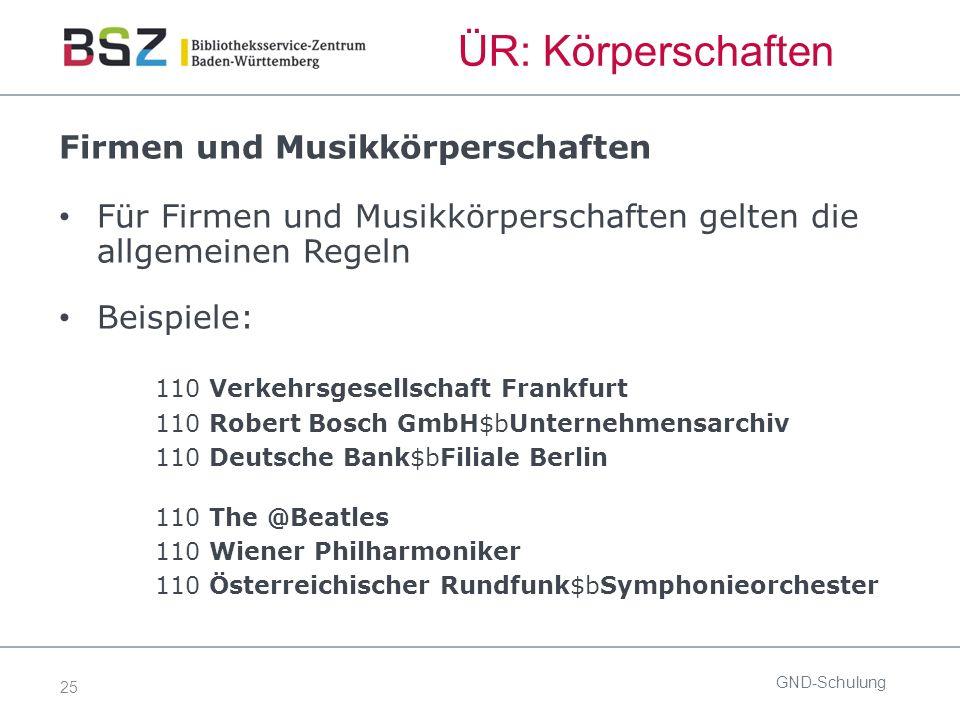 25 ÜR: Körperschaften GND-Schulung Firmen und Musikkörperschaften Für Firmen und Musikkörperschaften gelten die allgemeinen Regeln Beispiele: 110 Verk