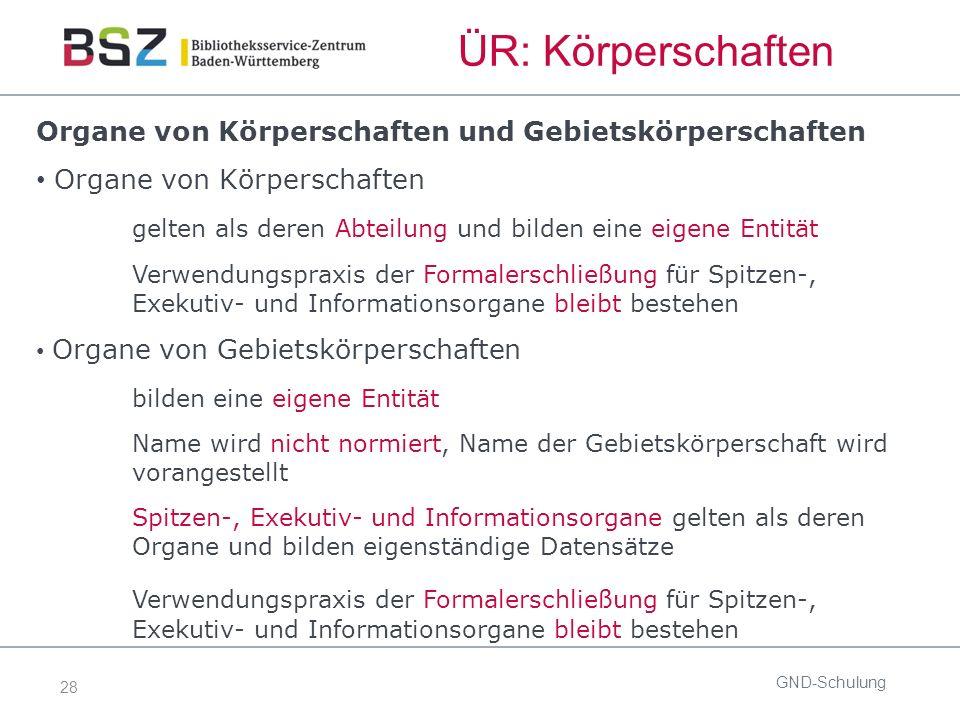 28 ÜR: Körperschaften Organe von Körperschaften und Gebietskörperschaften Organe von Körperschaften gelten als deren Abteilung und bilden eine eigene