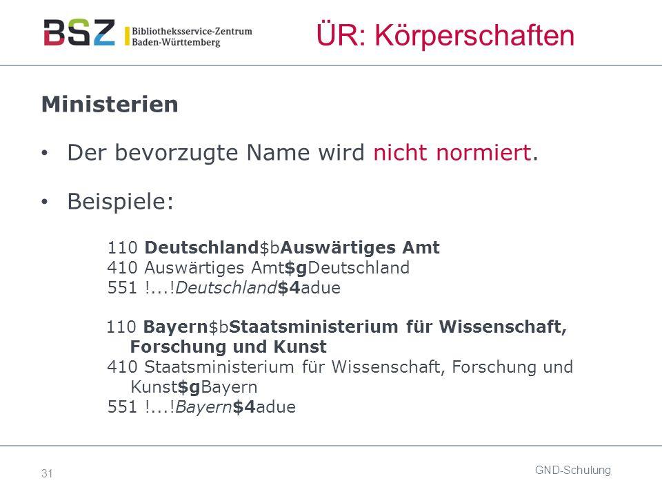 31 ÜR: Körperschaften Ministerien Der bevorzugte Name wird nicht normiert. Beispiele: 110 Deutschland$bAuswärtiges Amt 410 Auswärtiges Amt$gDeutschlan