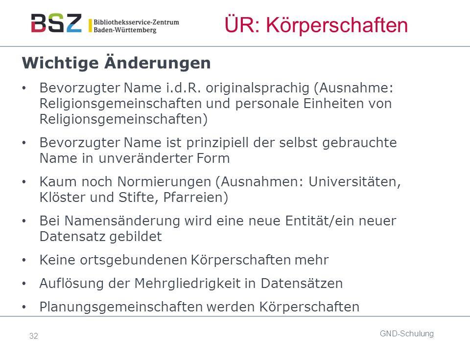 32 ÜR: Körperschaften Wichtige Änderungen Bevorzugter Name i.d.R. originalsprachig (Ausnahme: Religionsgemeinschaften und personale Einheiten von Reli