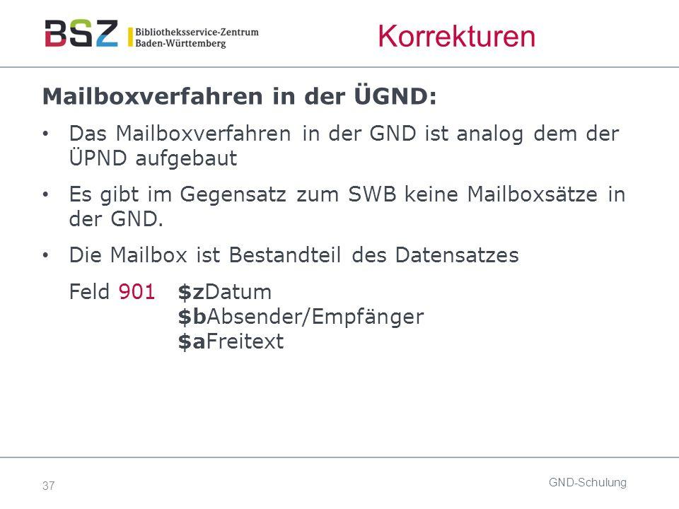 37 Korrekturen Mailboxverfahren in der ÜGND: Das Mailboxverfahren in der GND ist analog dem der ÜPND aufgebaut Es gibt im Gegensatz zum SWB keine Mail