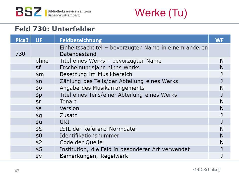 47 GND-Schulung Pica3UFFeldbezeichnungWF 730 Einheitssachtitel – bevorzugter Name in einem anderen Datenbestand ohneTitel eines Werks – bevorzugter Na