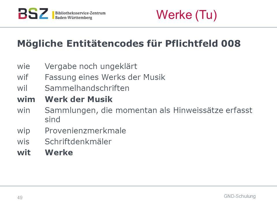 49 Mögliche Entitätencodes für Pflichtfeld 008 wieVergabe noch ungeklärt wif Fassung eines Werks der Musik wil Sammelhandschriften wim Werk der Musik