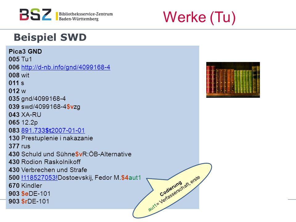 Beispiel SWD Pica3 GND 005 Tu1 006 http://d-nb.info/gnd/4099168-4 008 wit 011 s 012 w 035 gnd/4099168-4 039 swd/4099168-4$vzg 043 XA-RU 065 12.2p 083