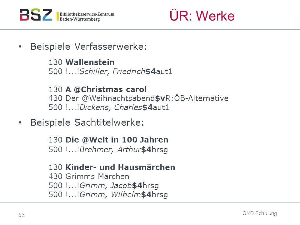 55 ÜR: Werke Beispiele Verfasserwerke: 130 Wallenstein 500 !...!Schiller, Friedrich$4aut1 130 A @Christmas carol 430 Der @Weihnachtsabend$vR:ÖB-Altern