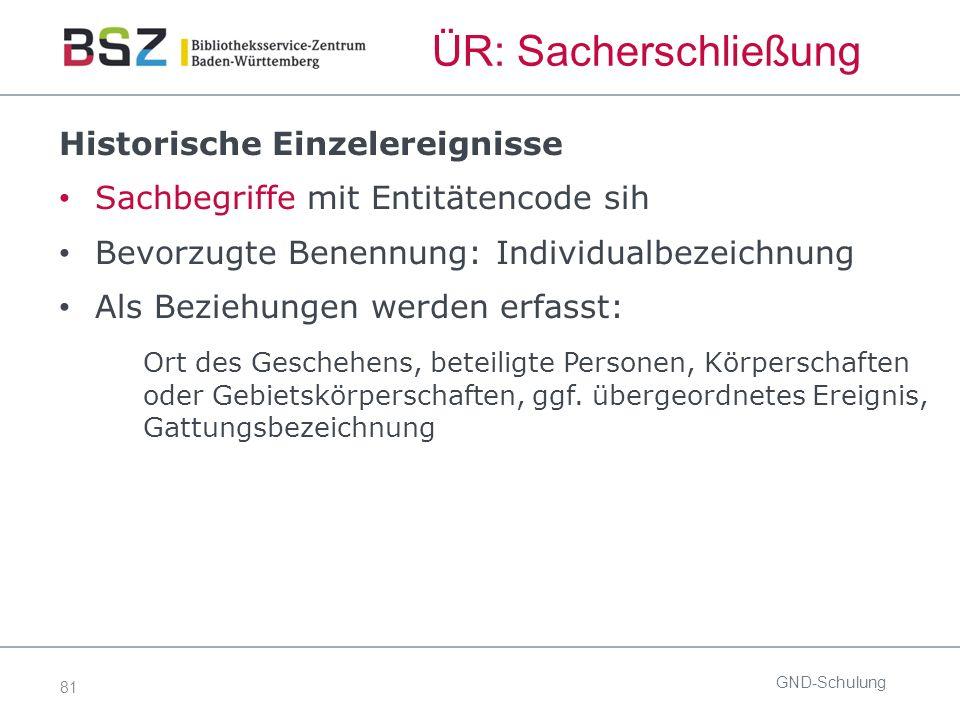 81 ÜR: Sacherschließung GND-Schulung Historische Einzelereignisse Sachbegriffe mit Entitätencode sih Bevorzugte Benennung: Individualbezeichnung Als B