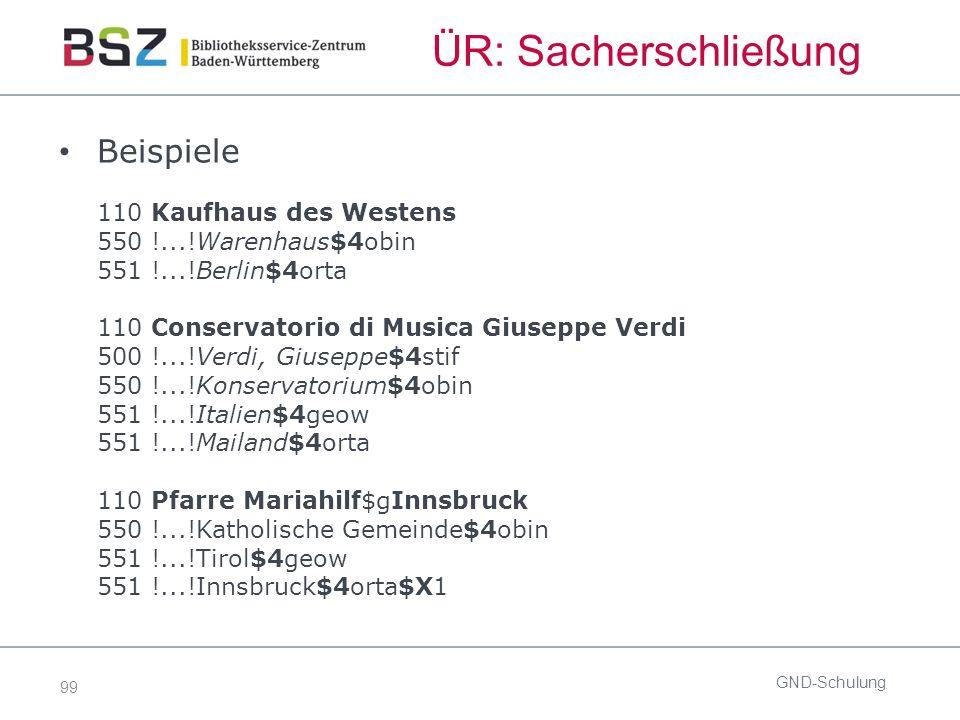 99 ÜR: Sacherschließung Beispiele 110 Kaufhaus des Westens 550 !...!Warenhaus$4obin 551 !...!Berlin$4orta 110 Conservatorio di Musica Giuseppe Verdi 5
