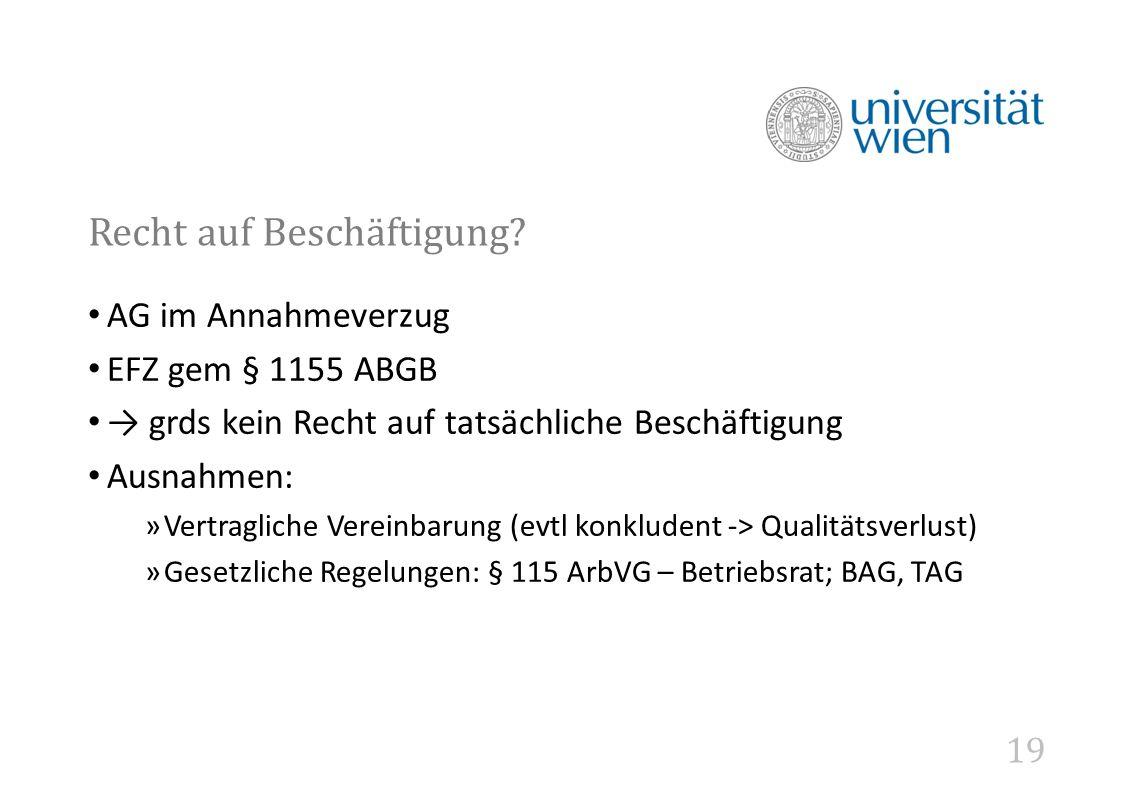 19 Recht auf Beschäftigung.