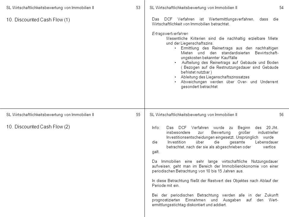 SL Wirtschaftlichkeitsbewertung von Immobilien II 5354 5556 10. Discounted Cash Flow (1) Das DCF Verfahren ist Wertermittlungsverfahren, dass die Wirt