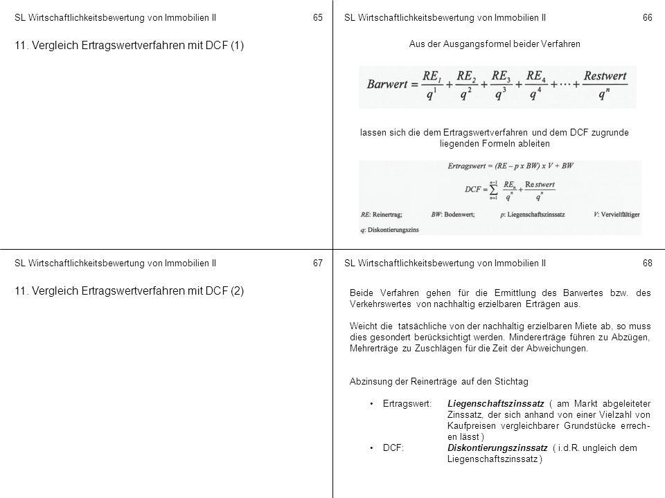SL Wirtschaftlichkeitsbewertung von Immobilien II 6566 6768 11. Vergleich Ertragswertverfahren mit DCF (1) Aus der Ausgangsformel beider Verfahren las