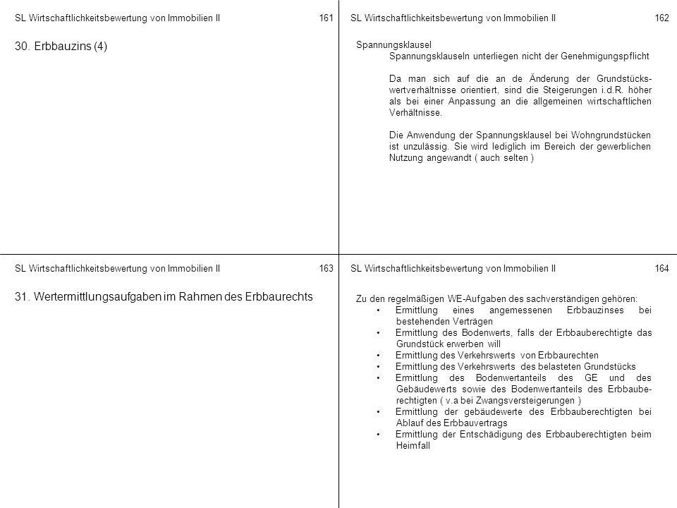 SL Wirtschaftlichkeitsbewertung von Immobilien II 161162 163164 30. Erbbauzins (4) Spannungsklausel Spannungsklauseln unterliegen nicht der Genehmigun