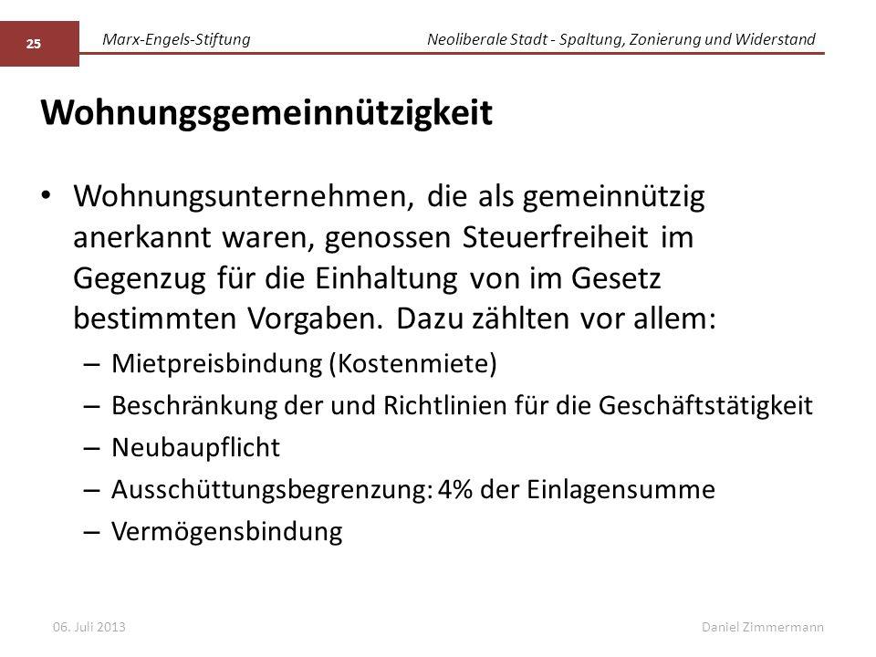 Marx-Engels-StiftungNeoliberale Stadt - Spaltung, Zonierung und Widerstand Daniel Zimmermann Wohnungsgemeinnützigkeit Wohnungsunternehmen, die als gemeinnützig anerkannt waren, genossen Steuerfreiheit im Gegenzug für die Einhaltung von im Gesetz bestimmten Vorgaben.