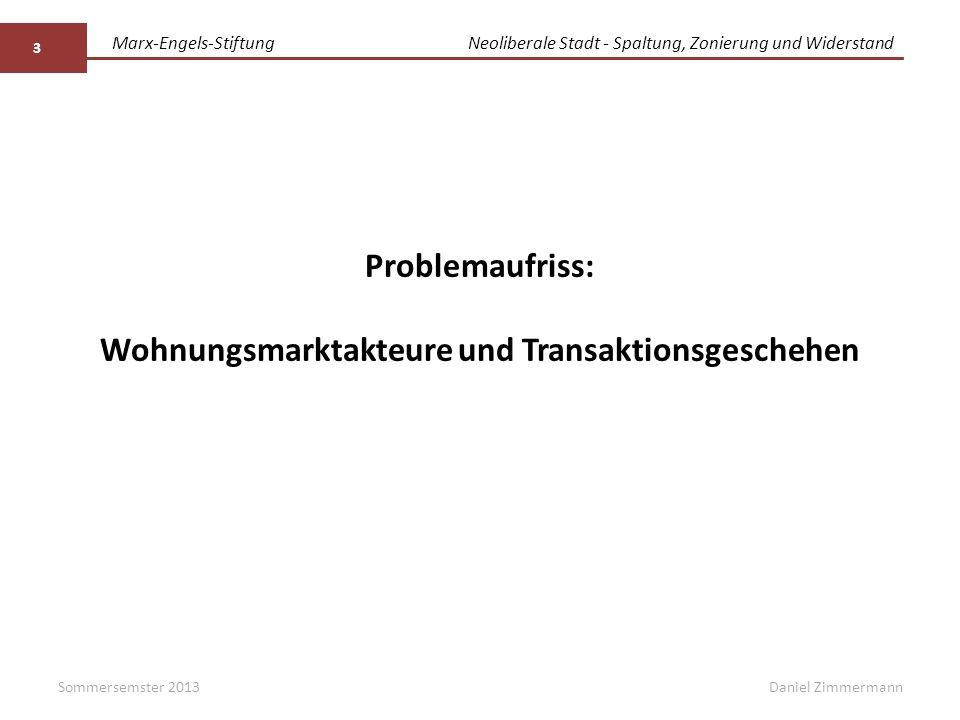 Marx-Engels-StiftungNeoliberale Stadt - Spaltung, Zonierung und Widerstand Daniel ZimmermannSommersemster 2013 3 Problemaufriss: Wohnungsmarktakteure