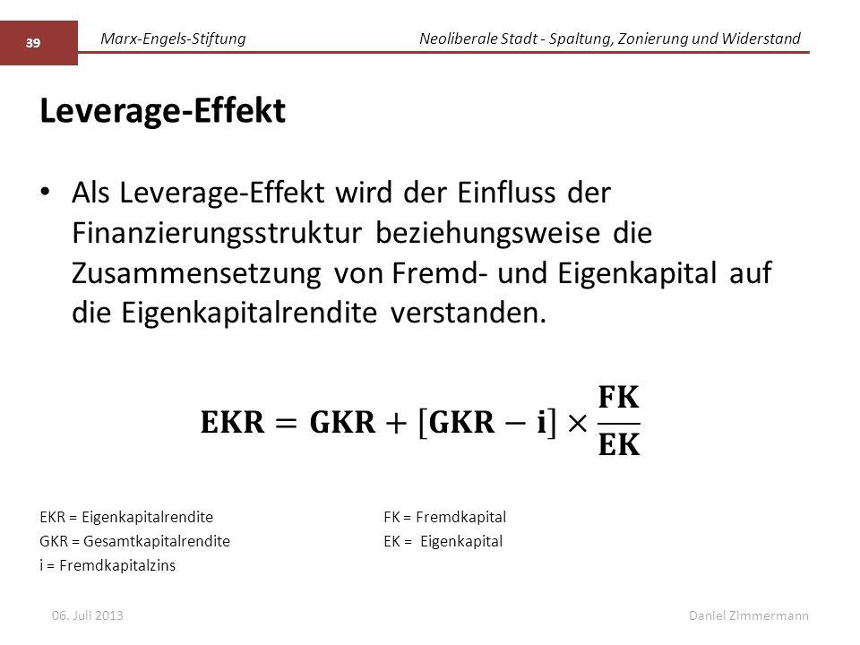 Marx-Engels-StiftungNeoliberale Stadt - Spaltung, Zonierung und Widerstand Daniel Zimmermann Leverage-Effekt 06. Juli 2013 39