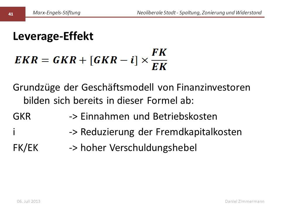 Marx-Engels-StiftungNeoliberale Stadt - Spaltung, Zonierung und Widerstand Daniel Zimmermann Leverage-Effekt 06.