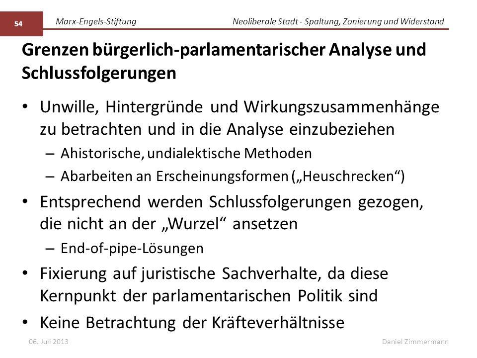 Marx-Engels-StiftungNeoliberale Stadt - Spaltung, Zonierung und Widerstand Daniel Zimmermann Grenzen bürgerlich-parlamentarischer Analyse und Schlussf