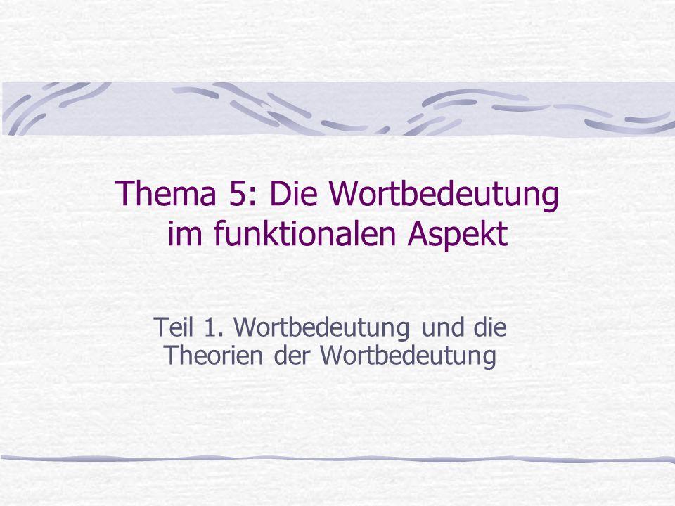 Plan Wortbedeutung und Realitätsbezug Wortbedeutung im System und im Text Theorien der Bedeutungsstruktur: - strukturalistische Bedeutungsbeschreibungen - inhaltsbezogene Bedeutungsbeschrei- bungen - kognitive Bedeutungsbeschreibungen