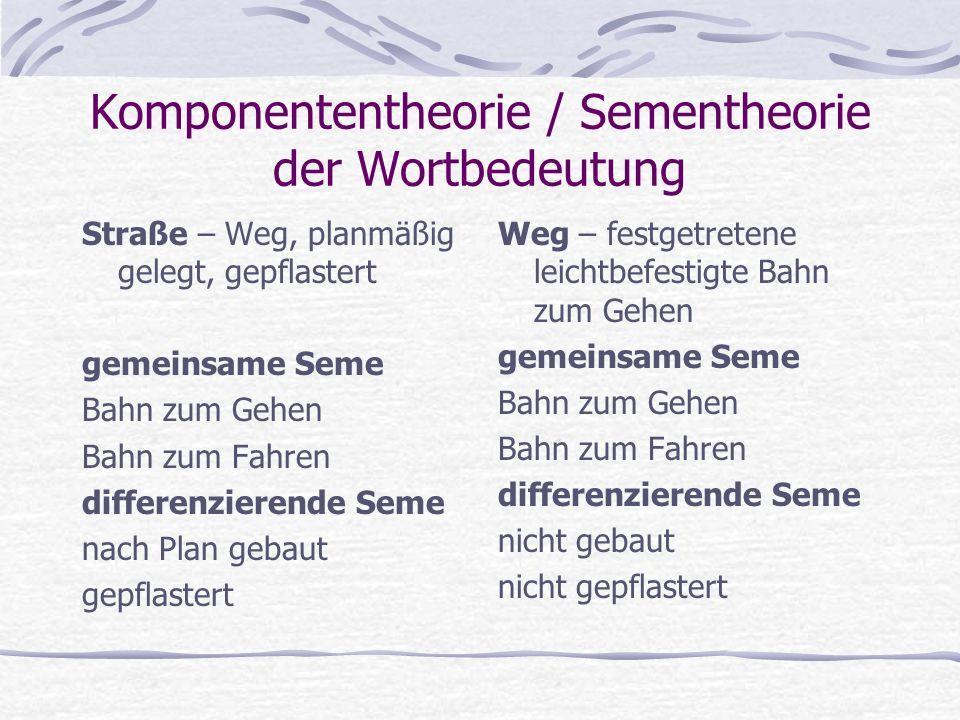 Komponententheorie / Sementheorie der Wortbedeutung Straße – Weg, planmäßig gelegt, gepflastert gemeinsame Seme Bahn zum Gehen Bahn zum Fahren differe
